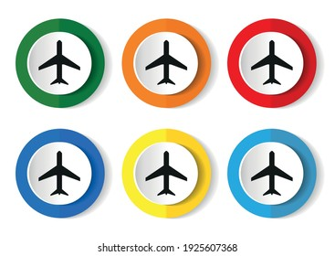 Plane, flight, airplane icons, set of colorful buttons in 6 color options