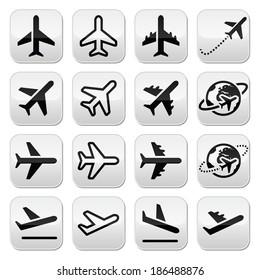 Plane, flight, airport buttons set