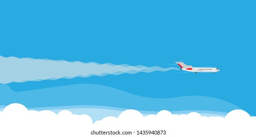 Plane fly in cloud sky illustration banner concept. Travel tourism jet direction holiday flat. Cartoon commercial passenger vehicle