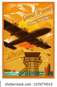 Plane fly over the beach with rescue tower and surfing board, in sunset, against the sun, view from the bottom. Vector vintage illustration Miami retro poster style