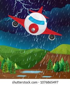 Plane Flying in Bad Weather illustration