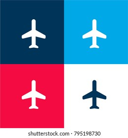 Plane four color material and minimal icon logo set in red and blue