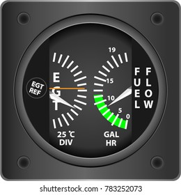 Plane FUEL FLOW instrument indicator on a white background