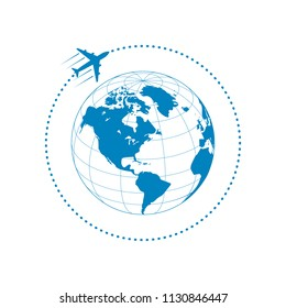 plane with globe and dotted path on white background. Vector illustration.