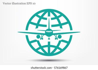 Plane Globe Icon Vector