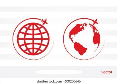 Plane Globe icon vector illustration