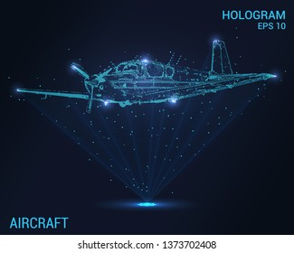 The plane hologram. A holographic projection of the single-engine plane. Flickering energy flux of particles. The scientific design of small aircraft