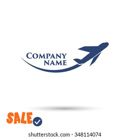Plane icon, Example for the name of your company. One of set web