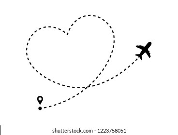 Plane icon with heart shaped dotted path line