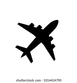 Plane icon icon isolated on white background, airplane symbol in flat style. Airplane sign in black. Vector illustration.