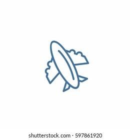 Plane icon. Line fly vector