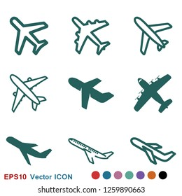 Plane icon on white background, airplane vector Illustration
