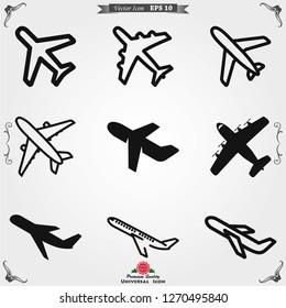 Plane icon on white background, airplane vector Illustration