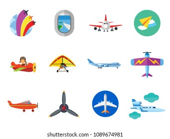 Plane Icon Set. Air Show Paper Plane Flying Machine Airplane Propeller Big Aircraft Jet Airliner Kids Plane Light Aeroplane Old Airplane Target Plane Window Airplane Front View Hang-glider