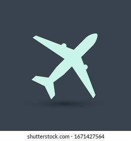 Plane icon vector, solid illustration