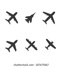 plane icons: screw the plane, passenger plane and fighter. vector set. eps8