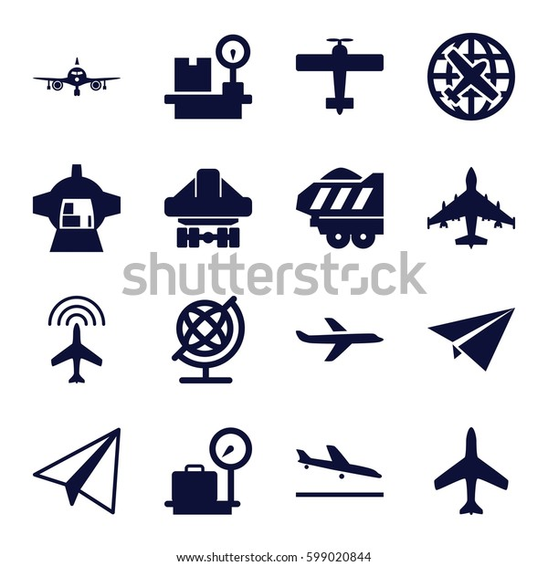 plane icons set. Set of 16 plane filled icons such as plane, plane landing, lugagge weight, globe