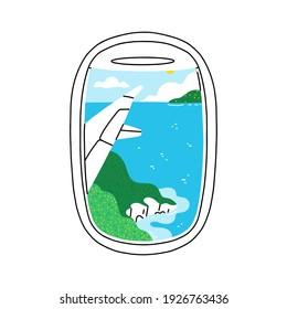 Plane illuminator view on beautiful summer tropical seascape scenery, vector illustration isolated on white background