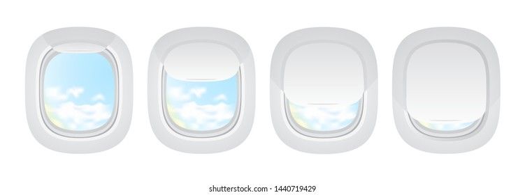 Plane indoor portholes. Aircraft window in opened and closed positions. Airplane realistic illuminator