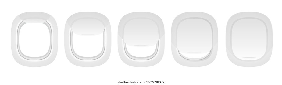 Plane indoor portholes set. Aircraft windows in opened and closed positions. Airplane realistic illuminator. Copy space. Realistic mockup