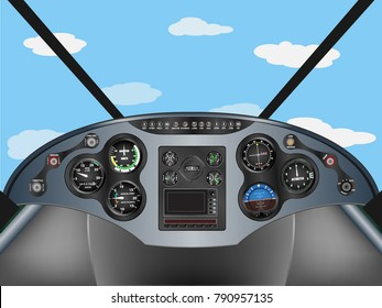 Plane instrument airplane dashboard control illustration with cloudy blue sky