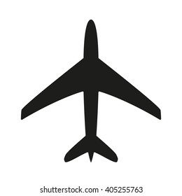 Plane isolated black icon.