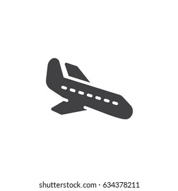 Plane landing, icon vector, filled flat sign, solid pictogram isolated on white. Arrival symbol, logo illustration