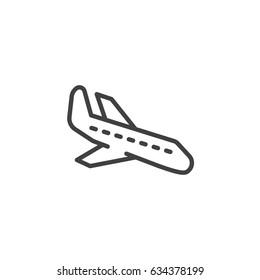 Plane landing, line icon, outline vector sign, linear style pictogram isolated on white. Arrival symbol, logo illustration. Editable stroke