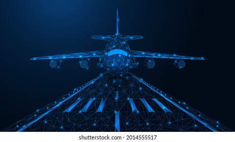 The plane lands on the runway. A low-poly model of air transport. Blue background.