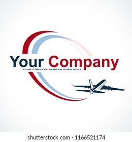 Plane Logo Design. Creative vector icon with plane and ellipse shape. Vector illustration.