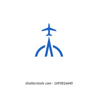Plane logo travel vector icon