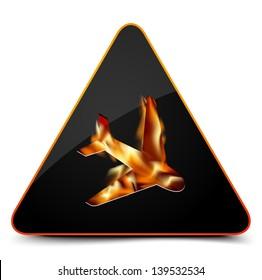 Plane on fire  Hazard Sign