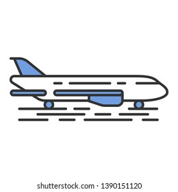 Plane on ground color icon. Jet runway. Airplane landing strip. Air terminal. Aviation service. Aircraft travel. Jetliner. Airliner journey. Isolated vector illustration