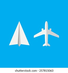 Plane and Paper plane icon. Vector illustration