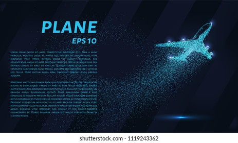 The plane of the particles. The plane climbs and the wind it rips small pieces. Vector illustration.