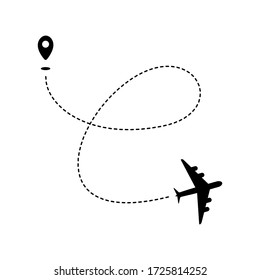 Plane path with geotag and dashed route. Black silhouette isolated on white background. Vector illustration.