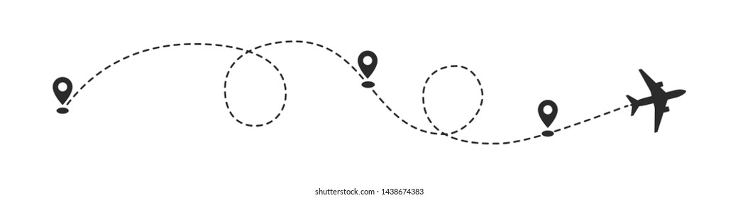 Plane path with location pins vector illustration. Path to location by plane, tourism way, route flight