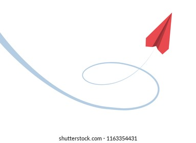 plane and its path on white background. Vector illustration.