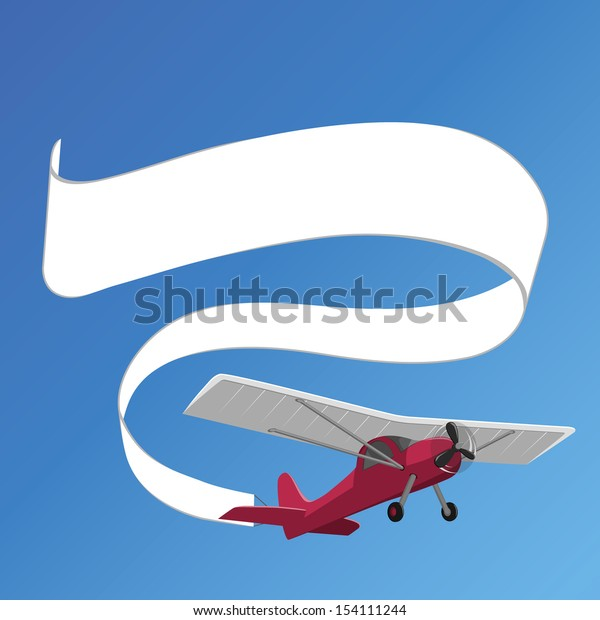 plane pulling white banner on the background of clear sky