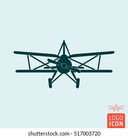 Plane. Retro biplane. Old airplane icon Vector illustration