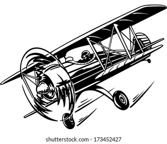 plane, retro biplane with a propeller in the air, flying in the sky, vector illustration