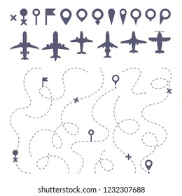 Plane route line. Planes dotted line trail directions, flight pathway direction map builder and airplane. Dot dashes travel flights destination track isolated icons vector set