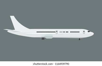 Plane with side view mock up. Flat and solid color vector illustration.