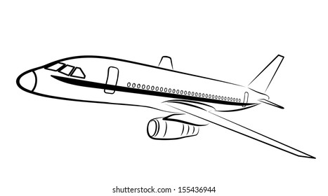 plane silhouette on a white background