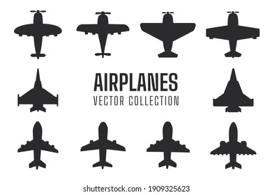 Plane silhouette set Simple fighter plane airliner silhouette vector design isolated from background