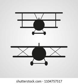 Plane silhouettes - triplane, biplane - vector design