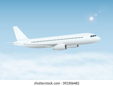 Plane in the sky with clouds. Vector illustration