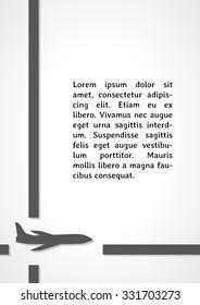 plane symbol dark infographics on gray gradient background