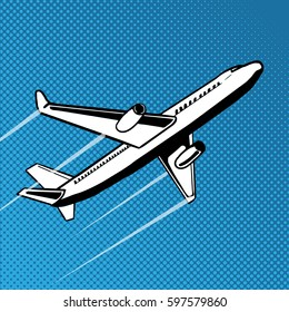 Plane takes off pop art style. Hand drawn comic book imitation vector illustration
