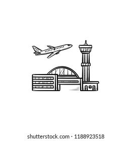 Plane taking off at the airport hand drawn outline doodle icon. Airplane departure, vacation trip concept. Vector sketch illustration for print, web, mobile and infographics on white background.
